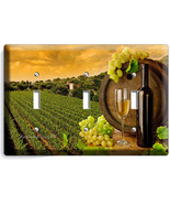 TUSCAN VINEYARD RUSTIC WINE BARREL GRAPES TRIPLE LIGHT SWITCH WALL PLATE COVER - $14.39