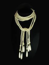 "Vintage Flapper Pearl necklace 41"" Tassel drops Triple Strand Pearl wedd... - $155.00"