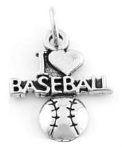 Sterling Silver I Love Baseball Charm Or Pendant - $12.19