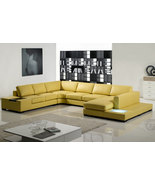 Modern Mustard Yellow Leather Sectional Sofa with Built-in Table and Lig... - $2,395.00