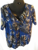 DKNY Jeans Pull Over Womens L Sheer V-Neck Vertical Ruffle Blue Floral S... - $16.89