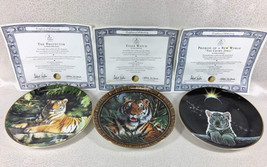 3-pc Royal Doulton Collector Plate The Protector Tiger Watch Promis of the World - $27.71