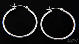 STERLING SILVER POLISHED PLAIN HOOP EARRINGS 30mm X 2mm - $11.94