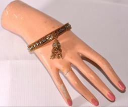 vintage gold chain tassel bangle bracelet with blue rhinestone - $34.64