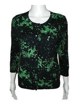 Womens Talbots Petites Green Black White 3/4 Sleeve Cardigan Sweater sz MP - $29.69