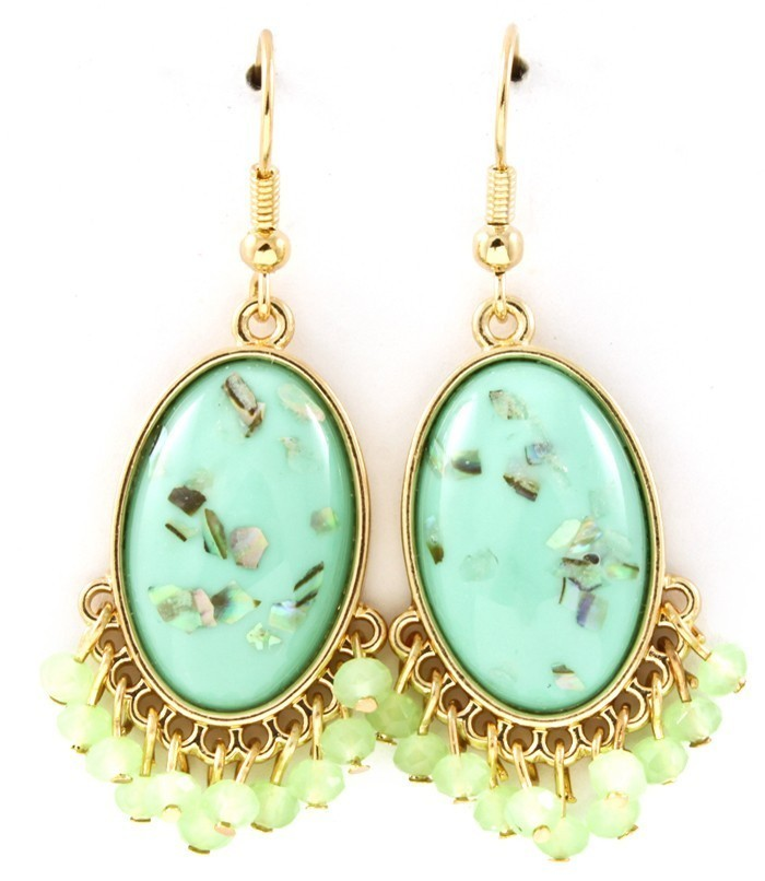 Primary image for Mint Green Acrylic Paua Shell Chip Faceted Bead Fringe Dangle Earrings Gold Tone