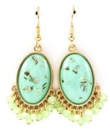 Mint Green Acrylic Paua Shell Chip Faceted Bead Fringe Dangle Earrings G... - $17.10