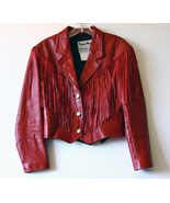 Red Leather Fringed Waist Jacket Made in USA by... - $100.00