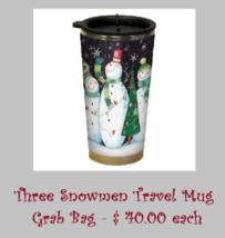 CLEARANCE EXCLUSIVE Three Snowmen Travel Mug Grab Bag assorted cross sti... - $20.00