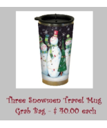 EXCLUSIVE Three Snowmen (black) Travel Mug Grab Bag assorted cross stitch  - $40.00