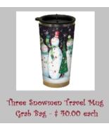 EXCLUSIVE Three Snowmen (black) Travel Mug Grab... - $40.00