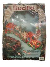 VTG 1991 Bucilla Christmas Holiday Express Train Needlepoint Yarn Kit By LAMP - $18.05