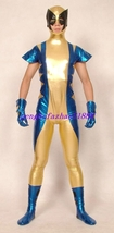 Gold/Blue Shiny Metallic Superhero Wolverine Suit Catsuit Costumes Unisex S177 - $45.99
