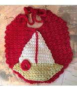 Toddler's Handmade Crochet Bib with Sailboat Applique - $15.00