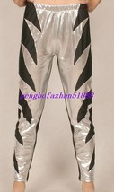 New Black/Silver Shiny Lycra Metallic Wrestling Pants Trousers Unisex S194 - $32.99