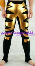 New Gold/Black Shiny Lycra Metallic Wrestling Pants Trousers Unisex S195 - $32.99