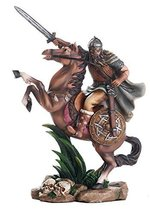 Ancient Nordic Viking Warrior on Horse Ready for Battle Collectible Figu... - $49.49
