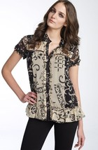 Diane Von Furstenberg Margie Bahia Lace Combo Silk Top Blouse   Us 6   Uk 10 - $111.11