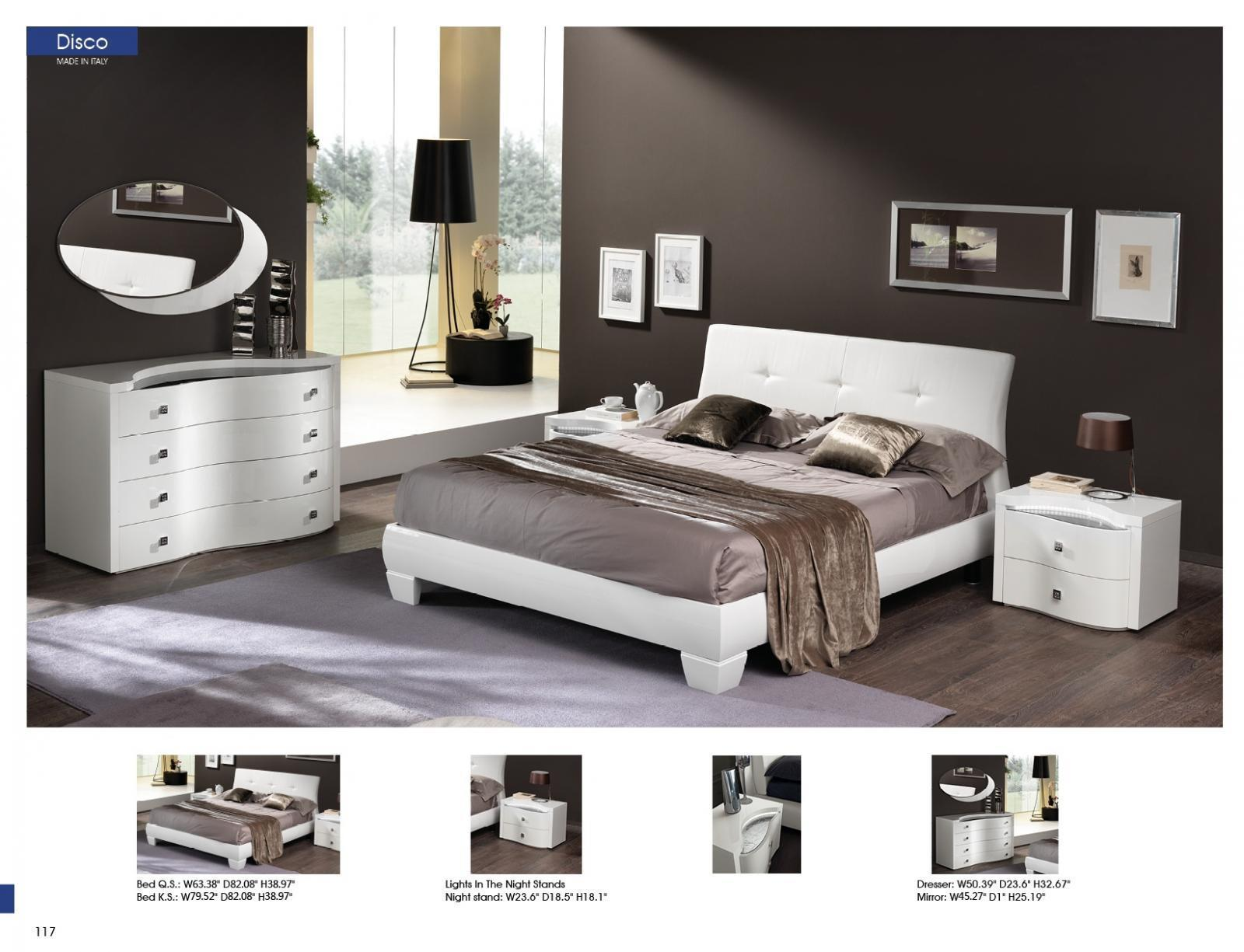 ESF Disco King Size Bedroom Set in White Modern 2 Night Stands Made in Italy