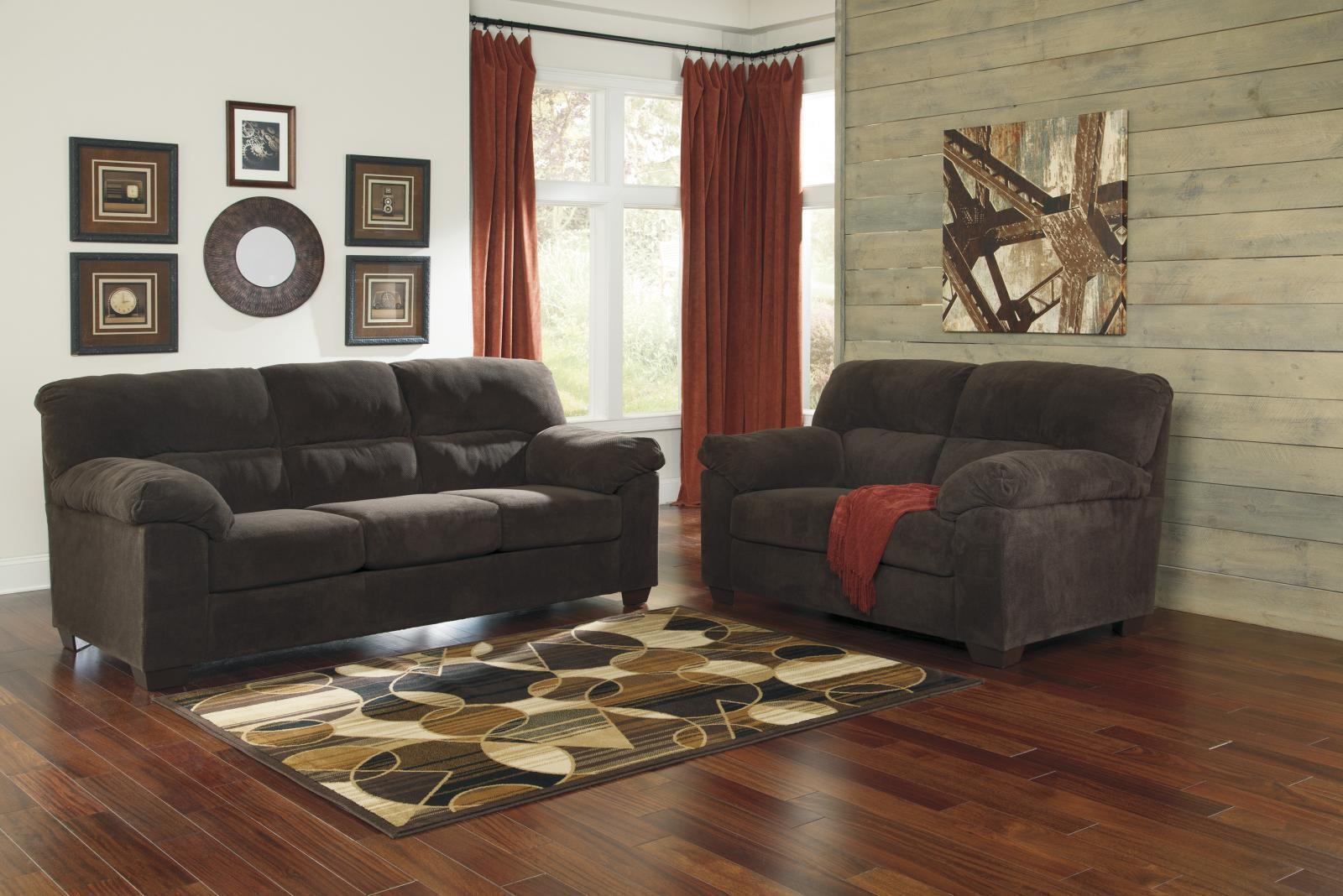 Ashley Zorah Living Room Set 2pcs in Chocolate Polyester Upholstery Contemporary