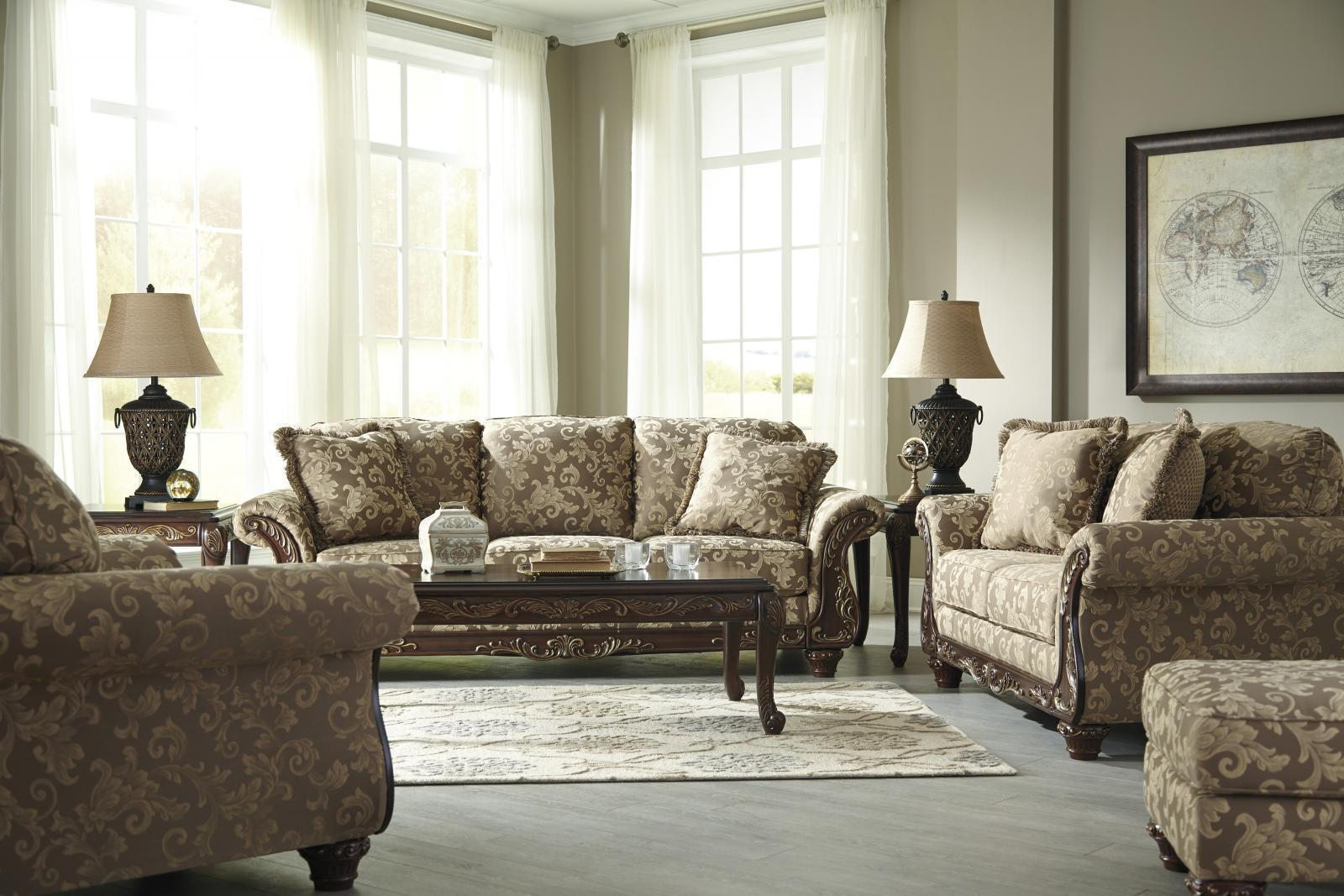 Ashley Irwindale Living Room Set 4pcs in Topaz Traditional Style