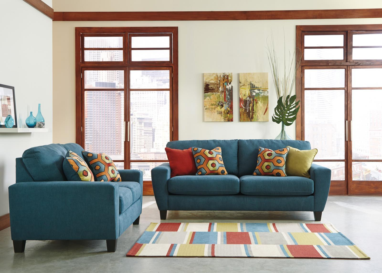Ashley Sagen Living Room Set 2pcs in Teal Textured Microfiber Contemporary Style
