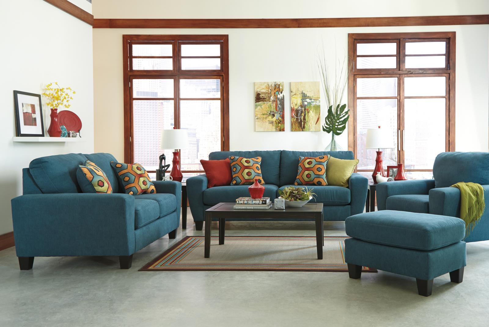 Ashley Sagen Living Room Set 3pcs in Teal Textured Microfiber Contemporary Style