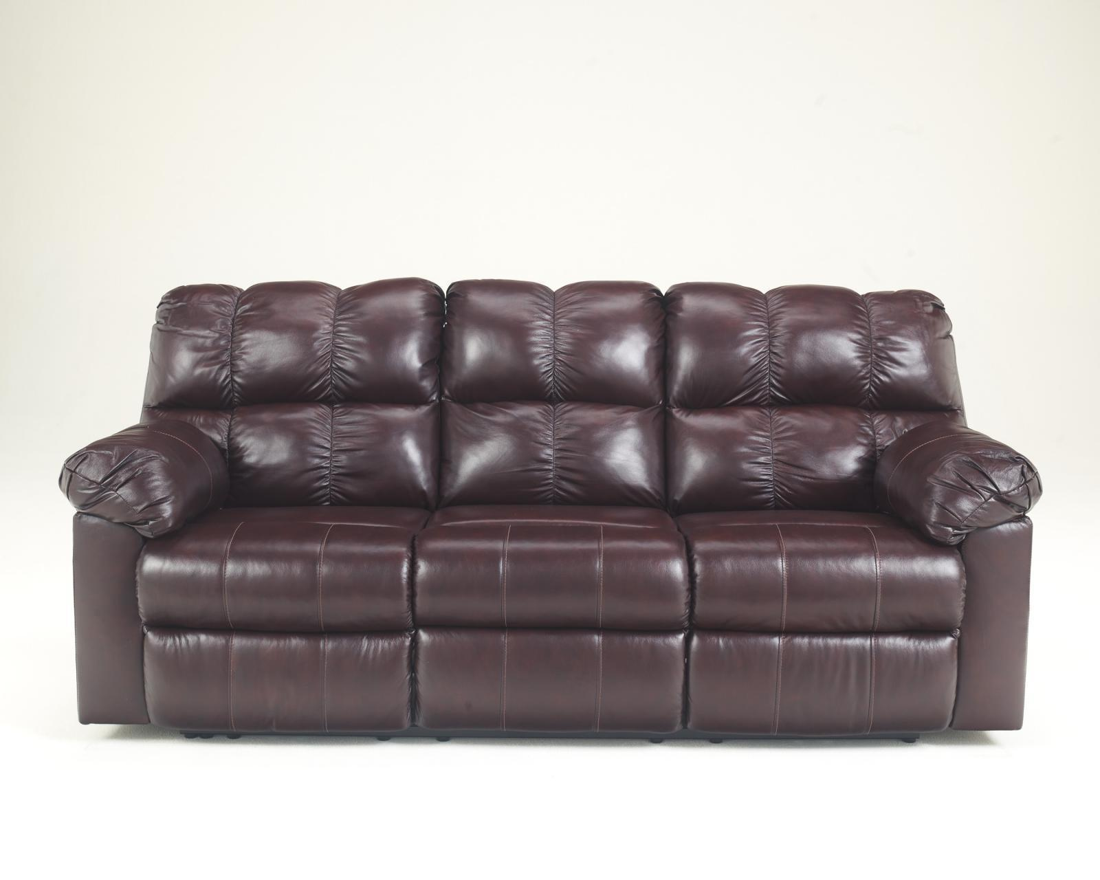 Ashley Kennard Living Room Reclining Sofa in Burgundy Faux Leather Contemporary