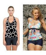 Women Two Piece Swimsuits Ladies Boy Shorts Tankini Black Swimwear Bathe... - $34.95