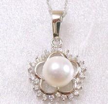 Moda Donna Placcato In Oro Bianco 8mm Perla Compleanno Natale Fiore - $18.54