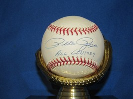 Pete Rose All Century Wsc Reds Phillies Mvp Roy Signed Auto Baseball Mm Coa - $148.49
