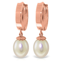 8 CTW 14K Solid Rose Gold pearl Drop Hoop Earrings - $255.26