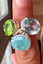 New Chistick 22.5ct Grandidierite peridot, Aquamarine, Diamond 14k gold ... - $6,999.00