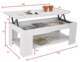 Modern Lift Up Top Coffee Table Rectangle with Storage Shelf Eat Work Me... - $99.90