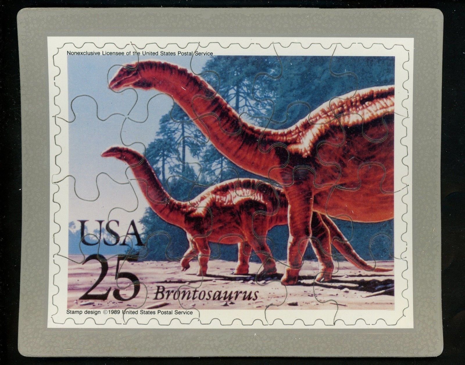 USPS POSTCARD - Dinosaurs Commemorative Puzzle series - BRONTOSAURUS - FREE SHIP