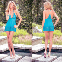 Women Sexy Lingerie Nightgown Lace Straps M XL Lake Blue Free Shipping ... - $10.89