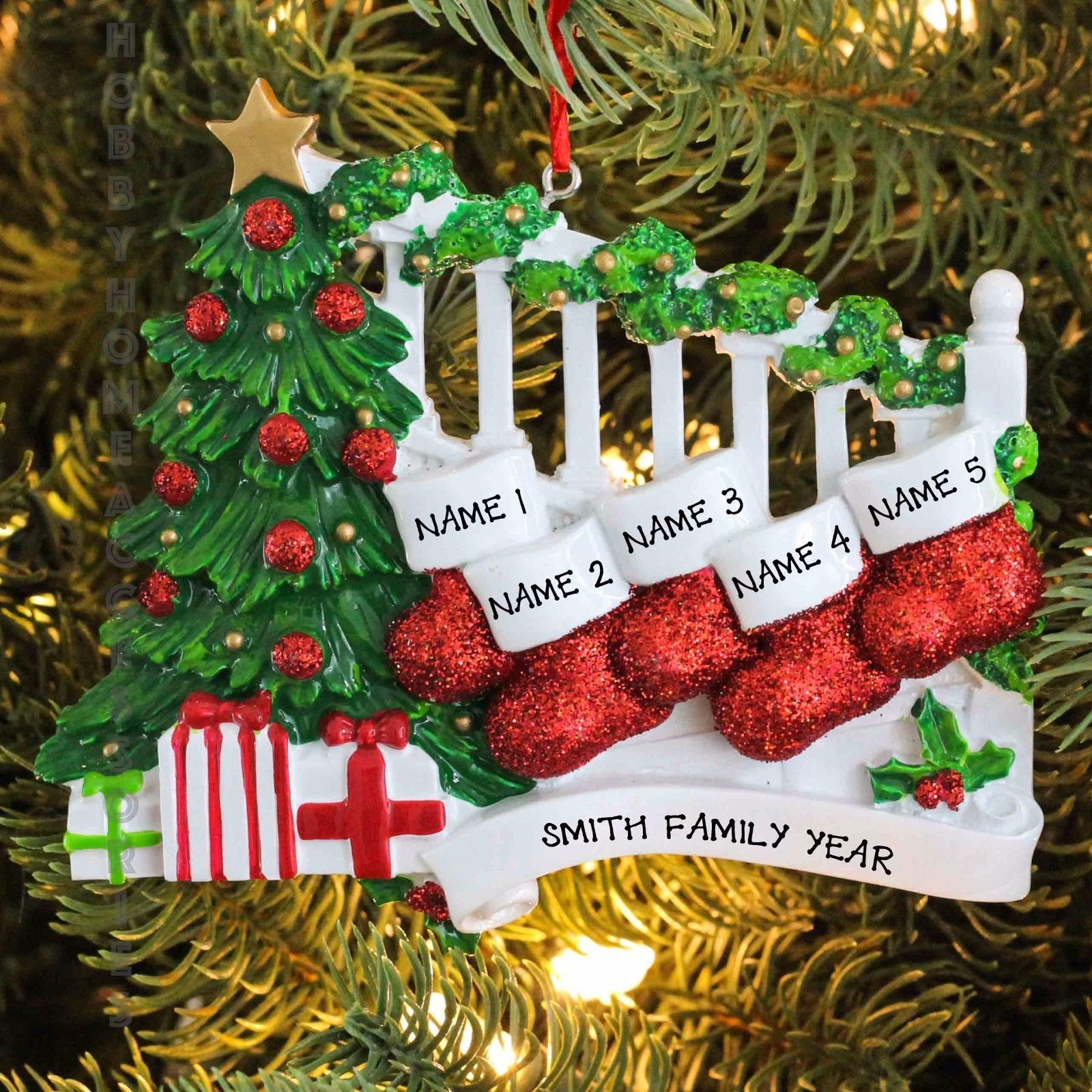 Bannister with 5 Stockings Family Personalized Christmas ...