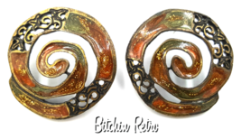 Newpro Vintage Earrings with Enameled Autumn Colors and Boho Style - $16.00