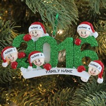 2016 Face Family Of 5 Personalized Christmas Tree Ornament Holiday Gift - $13.81
