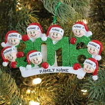 2016 Face Family Of 9 Personalized Christmas Tree Ornament Holiday Gift - $14.80