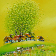 Autumn in Village, a 24 x 24 commission origi... - $179.00