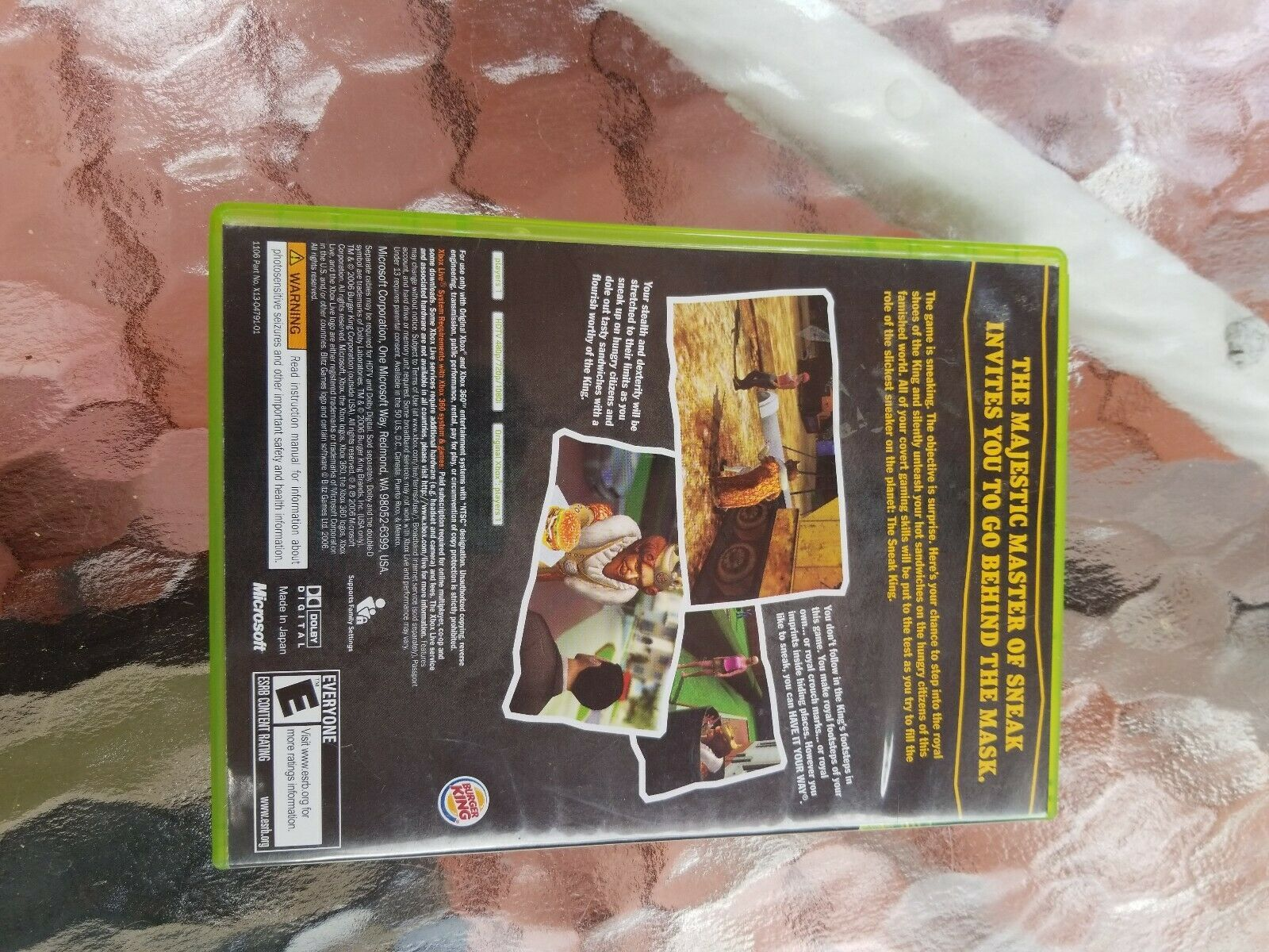 Sneak King (Microsoft Xbox 360, 2006) Burger King Exclusive Game COMPLETE CIB image 2