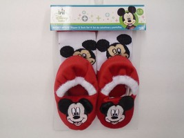 Mickey Mouse Sock & Slippers Set By Regent Baby Products, Disney Cute! - $9.89