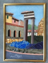 "ROMAN ITALIAN PIETRA DURA,  w/ inlaid stone  -  ""VEDUTA DI ROMA""  10"" X 11"" - $1,269.96"