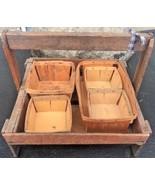 Antique Wooden Berry Fruit Picking Tray Box Primitive 5 Unique Baskets H... - $39.59