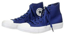 Converse Chuck Taylor II Lunarlon Blue Canvas High Top Sneakers Trainers Sz 5 - $45.99