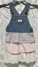 Vintage OSH KOSH Dress Vestbak 4T 4 Shabby Chic Floral Calico Tier Layer... - $53.99