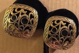 Vintage Gold Tone Border Openwork Floral Black Enamel Flowers Clip Earri... - $32.59