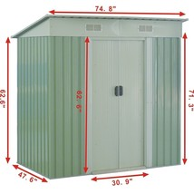 Costway 4x6FT Outdoor Garden Storage Shed Tool House Sliding Door Galvan... - $318.59