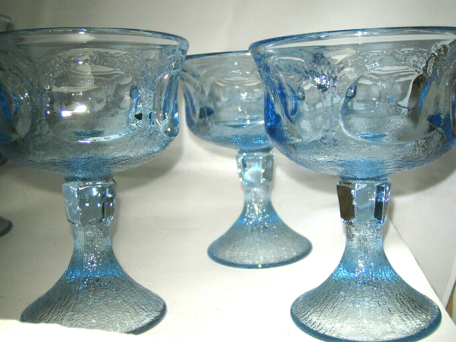 "Primary image for Fostoria WOODLAND BLUE Champage Sherbet 3-pc Glass 5 1/4"" Blue Glass Excellent"